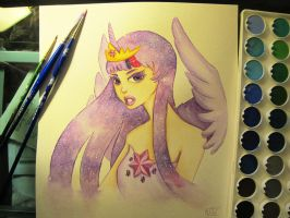 Princess Twilight Sparkle Watercolor Tutorial by KTOctopus