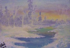 ACEO Winter Sunrise by annieoakley64