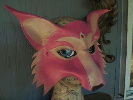 Pink fox leather mask by faerywhere