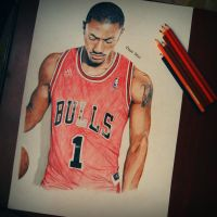 Derrick Rose Drawing by staceyElmoro
