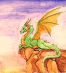 Dragon at Sunset Watercolor by The-GoblinQueen