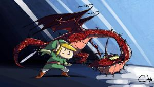 Link Fighting Dragon by mrstupes