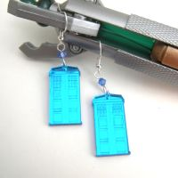 Tardis Mirrored Blue Doctor Who Earrings by GeekStarCostuming