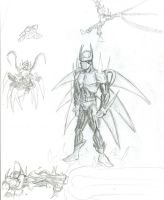 Azrael character sketches by Kirbunkle