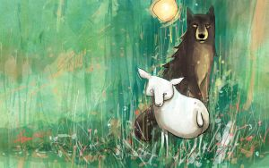 Sheep and wolf by katzai