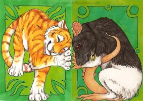 ACEOs - The rat and the tiger by CunningFox