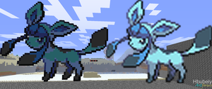 Glaceon - Minecraft Art by HbubelyArtForms