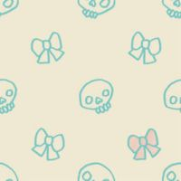 KAWAII DESU SKULL TILE by genicecream