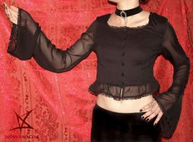 Black bell sleeved blouse by MissAnnThropia
