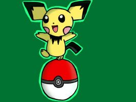 Pichu on a pokeball by barnowlgurl23