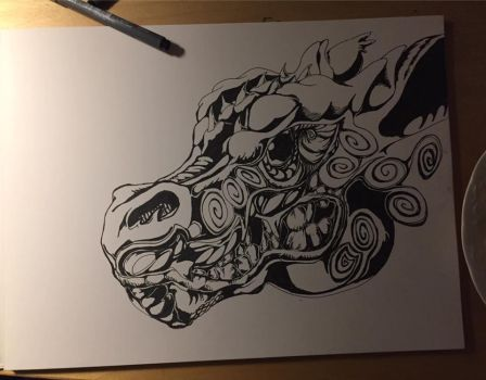 Dragon head with fineliners by Fagaramahat