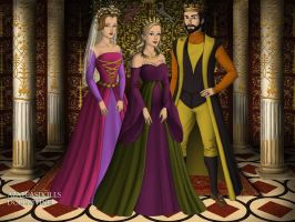 King Stephan, Queen Leah, and Princess Aurora. by Katharine-Elizabeth