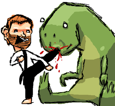 Chuch Norris owning a T-rex by ToxicPaprika