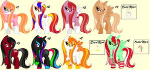 Wet Mane Pony Adopts Batch #1 by DesuPanda-Adopts