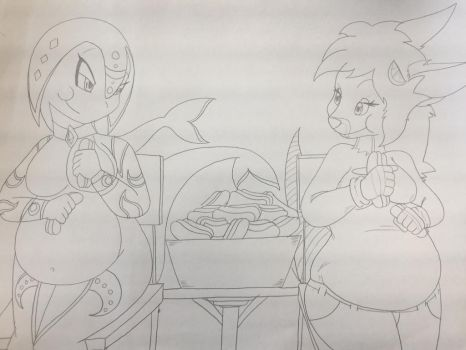 [Art-Trade] - Hot Dog Eating Contest by Kaithunderstone75