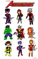 The Avengers Chibis Commission by SmokinCute