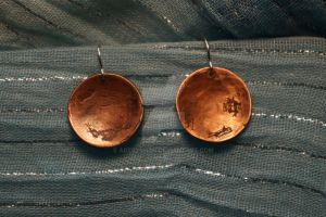 Domed etched copper earrings by ArtsyShan