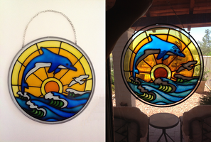Faux Stained Glass Dolphin by pinkythepink