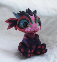 Little bit crazy- pink and purple dragon by BittyBiteyOnes