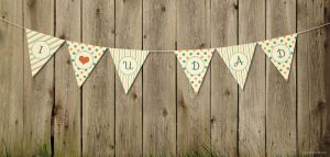 Simple Printable Pennant Banner Design and Text Ef by freebiespsd