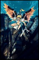 An angel falls on the city by Fred-H