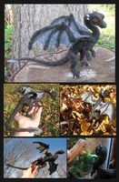 Needle felted Black Dragon by tallydragon