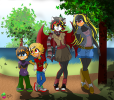 Sibblings take a walk in the park by AilwynRaydom