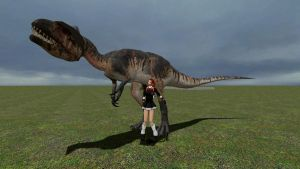 A girl and her dinosaur by jrc1120