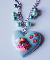Cupcake Hello Kitty Kawaii Pearlised Necklace by xhellojackiex