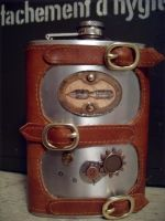 Penned - Steampunk Flask by Justenjoyinglife
