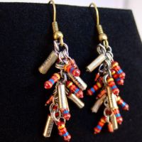 Red and Gold Resistor Cluster Earrings by Techcycle