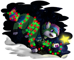 The Dog, Which Has Stolen The Christmas Lights by HermiTheHusky
