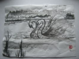 sumi-e swans by Iolii