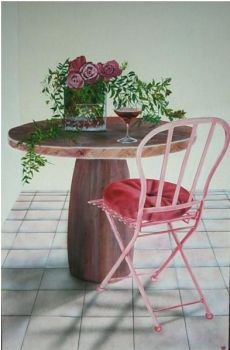 chaise rose et table painted by guitchart