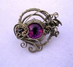A Baby Dragon - Silver Swirl Pink Lavender Eye by LadyPirotessa