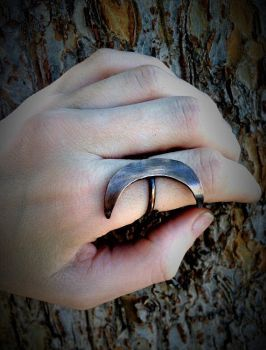 Copper Crescent Moon Ring by TheWickedGriffin