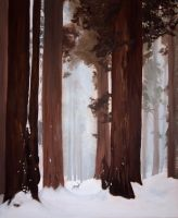 Sequoia and deer by AlexIKaine