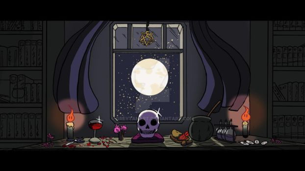 Witchy art challenge day 2 : An altar by GreytanArt