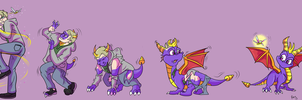 Commission: Spyro The Dragon Stage Transformation by Rex-equinox