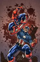 Spidey vs Captain America COLORS by MadcapLLC