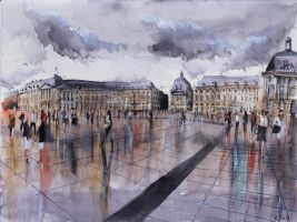Place de la Bourse - Watercolor by nicolasjolly