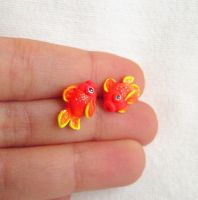 Goldfish neon earrings by FlowerLandBySaraMax