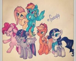 Mane 6 - Ready for Battle! by new-age-art-124