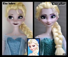 wip - repainted ooak singing snow queen elsa. by verirrtesIrrlicht