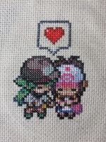 N and Touko Cross Stitch by Mickeycricky