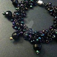 Black Iridescent Shaggy Loops Chainmaille Bracelet by Rosie-Periannath