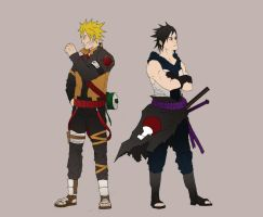Naruto and Sasuke by Lamb-Charmer