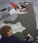 Wrestling a wolf (From Two roads in the woods) by tunaniverse
