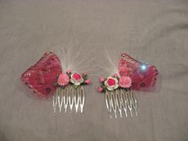 Pink Fairy wing hair combs by assassin-kitty