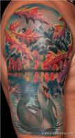 New England Autumn Scene Swan by Remistattoo